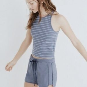 • MADEWELL • blue & white striped crop top
